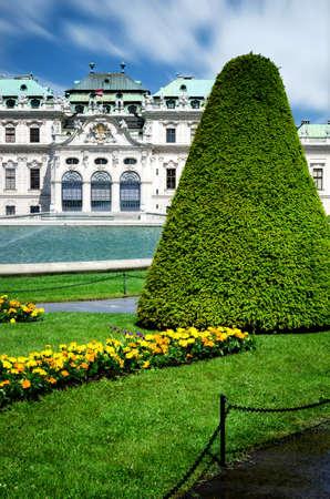 Upper Belvedere Castle (Schloos Belvedere) in Vienna, Austria. Detail of the formal gardens in the public park outside the palace