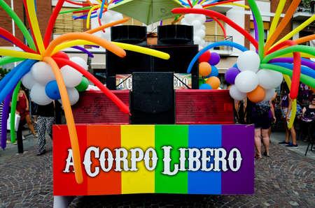 trans gender: ALBA, ITALY - JULY 8, 2017: Truck of the Piemonte Pride A Corpo Libero, gay pride parade in the streets of Alba (Italy) on july 8,2017
