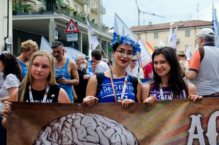 trans gender: ALBA, ITALY - JULY 8, 2017: Young girls at Piemonte Pride A Corpo Libero, the gay pride parade in the streets of Alba (Italy) on july 8,2017