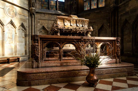 VIENNA, AUSTRIA - MAY 18, 2017: Monumental tomb of emperor Frederick III in Stephansdom, cathedral of Vienna, Austria, on may 18, 2017