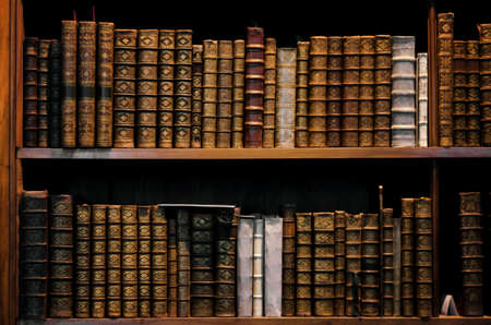 Ancient tomes on an antique wooden bookshelf 에디토리얼