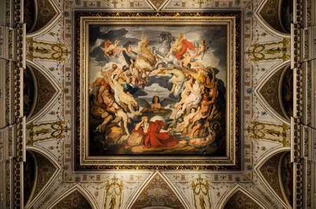 VIENNA, AUSTRIA - MAY 20, 2017: Naturhistorisches Museum (Museum of Natural History) in Vienna, Austria, on may 20, 2017. Detail of the ceiling in the main staircase hall, with its huge fresco