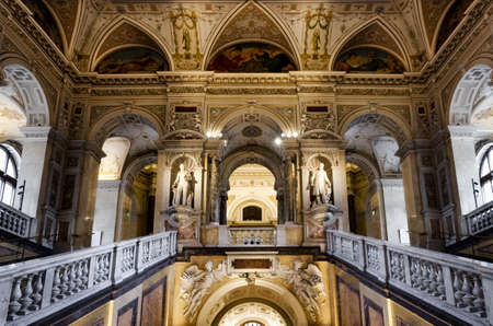 VIENNA, AUSTRIA - MAY 20, 2017: Naturhistorisches Museum (Museum of Natural History) in Vienna, Austria, on may 20, 2017. Main hall with the great staircase Editorial