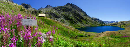 The Lac Superieur de Vens (Upper Lake of Vens in National Park of Mercantour (france), with flowers, trekking signboard and refuge