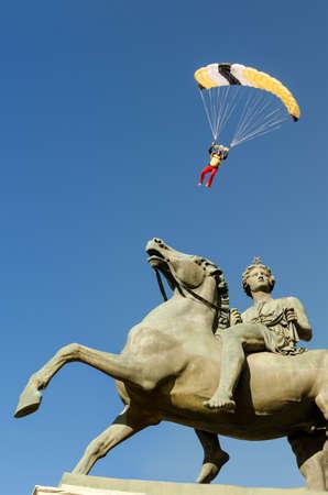 italian skydiver landing in Piazza Castello square (Turin, Italy)