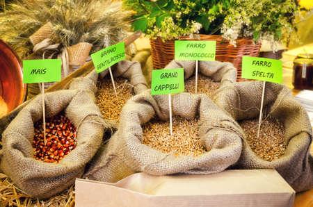italian farmer market stall with different cereals: mail (corn), grano gentilrosso (gentle red wheat), grano cappelli (cappelli wheat), farro monococco (einkorn wheat) and farro spelta (spelt) Stock Photo