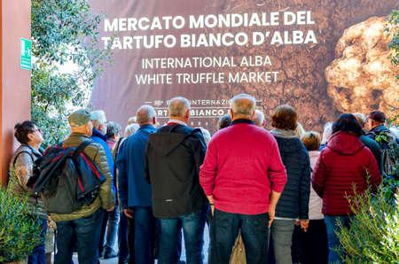 ALBA, ITALY - NOVEMBER 15, 2018: People entering the truffle market of the International Truffle Fair of Alba (Piedmont, Italy), main truffle event in Italy, on November 15, 2018. Redakční