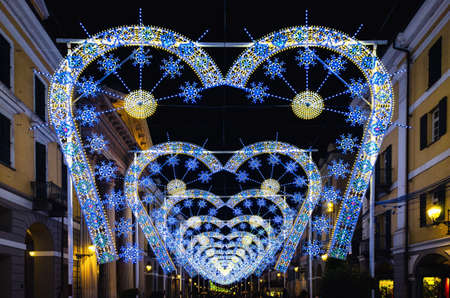 light and music performance at night during Cuneo Illuminata (Illuminated Cuneo), traditional public fair in Cuneo (Piedmont, Italy)