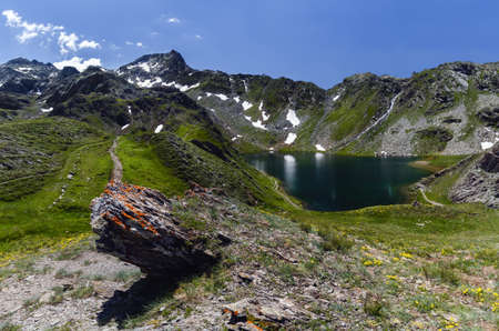 The Lac in Chianale, mountain lake in the italian alps of Cuneo, Piedmont.