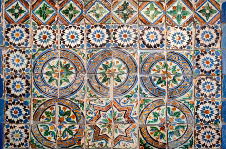 Ancient traditional portuguese set of azulejo, typical handcrafted painted tiles used to decorate walls, floors and buildings in portugal