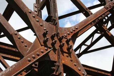 Ponte in ferro per ferrovia 1910, italia trentino dolomiti Stock Photo