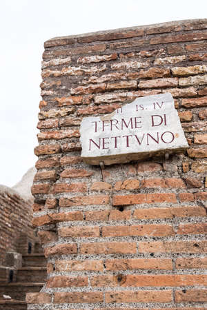 walls and thermal bathrooms and ruins in Ostia