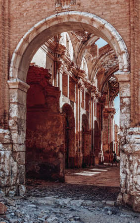 Entrance to the convent of San Agustin de Belchite Stock Photo