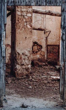Ruined house interior in Belchite Stock Photo