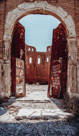 Entrance to the church of Sant Martin de Tours in Belchite Stock Photo