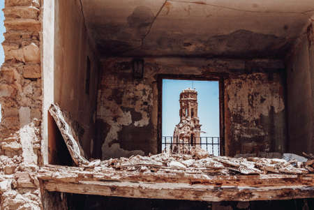 View of the bell tower of the convent of San Agustin in Belchite