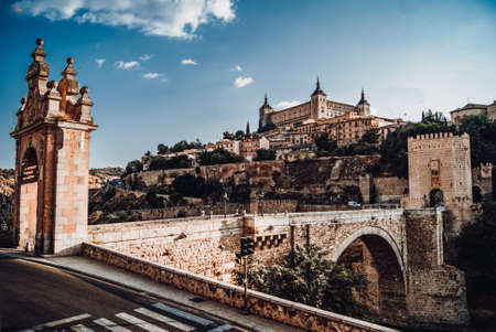 Panoramic view of Toledo from the Puerta de Alcantar