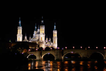 Night view of the Basilica del Pilar