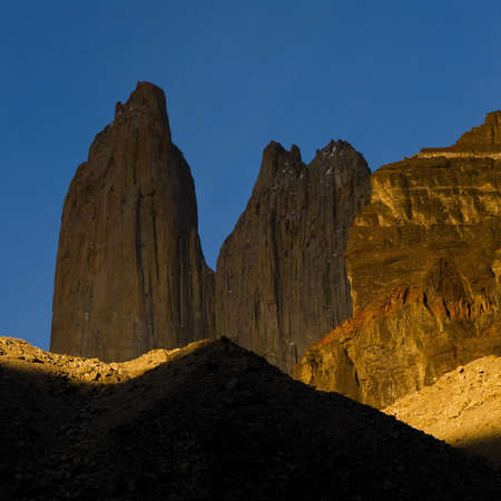 torres del paine: the Torres del Paine towers at sunrise, Torres del Paine national park, Chile