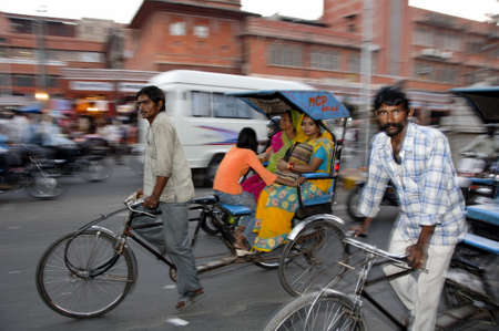 means of transport: rickshaw transportation in downtown jaipur india Editorial