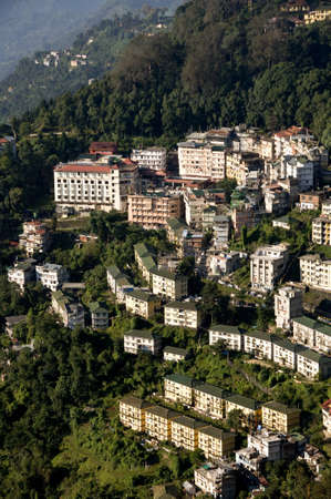 trave: aerial view of gangtok capital of sikkim india