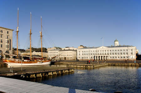 big three masted sailing boat in harbour downtown helsinki finland