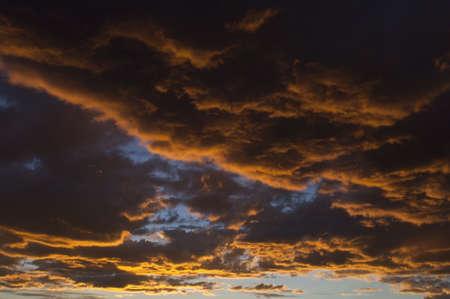 blue orange cloudscape at sunset photo