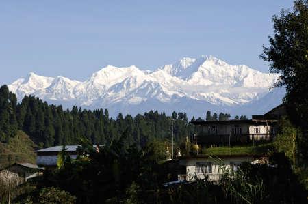 khangchengdzonga (Kangchenjunga) peak (worlds third highest mountain 8586 meters above sea level) in the himalaya range, sikkim, india at sunrise Standard-Bild