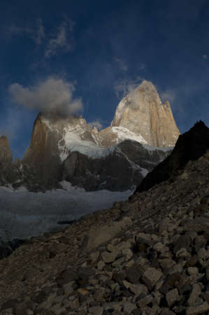 fitz roy: fitz roy peak and range at sunrise, los glaciares national park, patagonia, argentina, south america Stock Photo