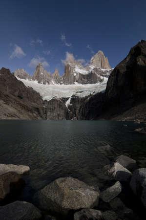 glaciares: snow avalanche below cerro Fitz Roy tower, Los Glaciares National Park, Patagonia, Argentina