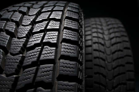 braking distance: close up detail of winter tire