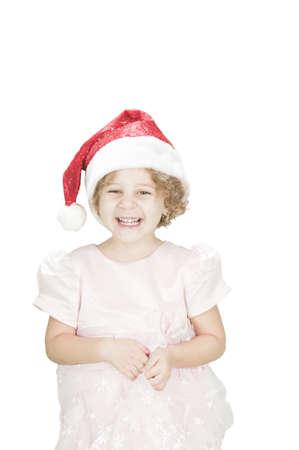 laughing toodler girl wearing santa's hat isolated on white Standard-Bild