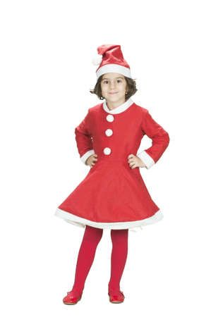 adorable little girl posing in santa claus costume isolated on white