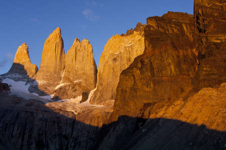 torres del paine towers at sunrise, torres del paine national park, patagonia, chile
