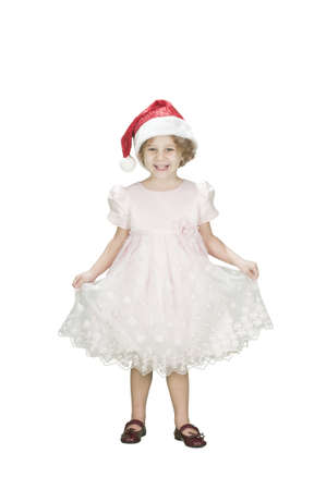 adorable toodler girl wearing santa's hat isolated on white
