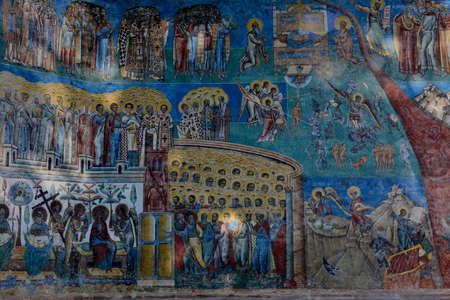 detail of Judgment Day fresco on western wall Voronet monastery, Suceava county, Moldova, Romania