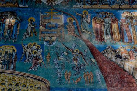 judgement day: detail of Judgment Day fresco on western wall Voronet monastery, Suceava county, Moldova, Romania
