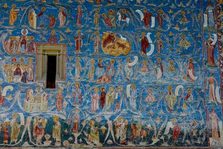 detail from Tree of Jesse fresco at Voronet monastery, Suceava county, Romania Standard-Bild