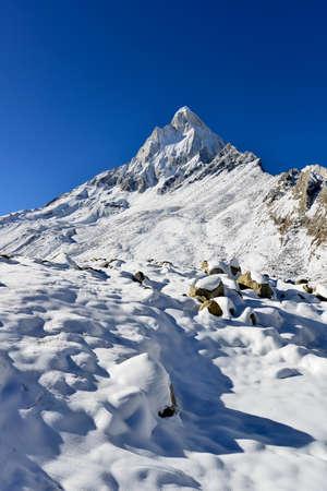 mahadev: dramatic Mount Shivling in the western Garhwal Himalaya, Uttarakhand, Uttaranchal, India Stock Photo