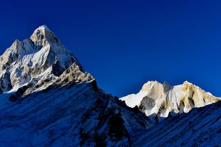 shivling: mount Shivling and Meru at sunrise in Garhwal Himalaya mountain range, Uttarakhand Uttaranchal, India
