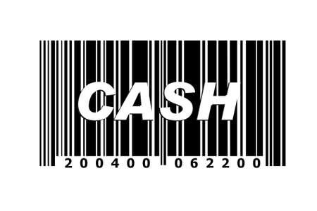 Cash written on fake barcode photo