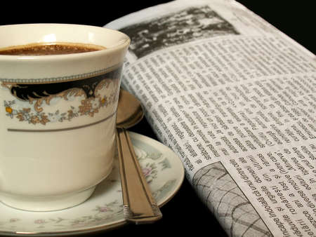 evening newspaper: morning coffee and newspaper relaxation
