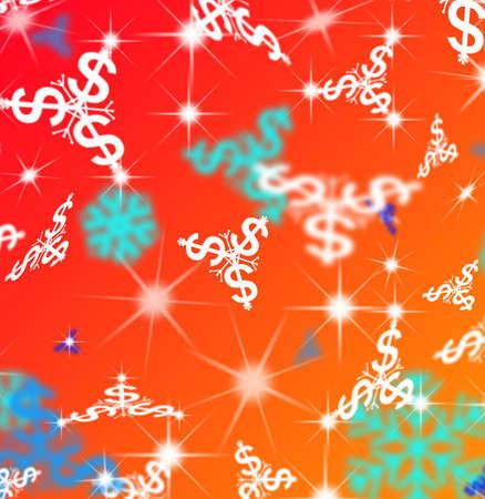 clacker: Dollar snow flakes Christmas illustration