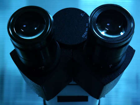 analyses: Laboratory microscope viewfinder Stock Photo