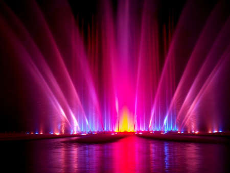light and water night show in hamburg, germany