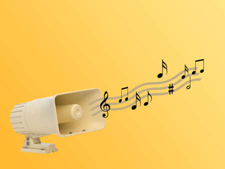 White loudspeaker with musical notes illustration
