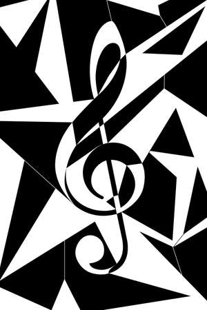 Cubism like sol key illustration in black and white.