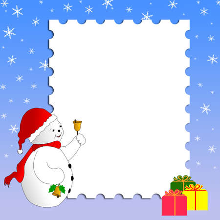 Christmas card design with snowman, gifts and snowflakes. Merry Christmas!