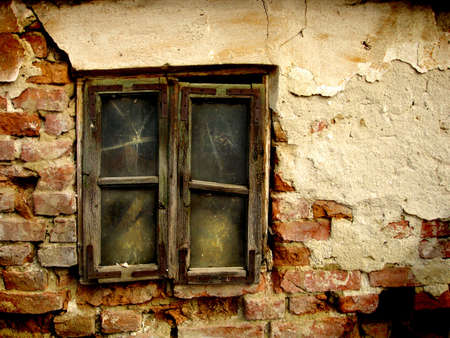 Vintage window, color picture. Ghost town detail