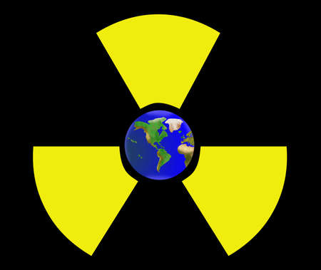 Radioactive sign with planet Earth inside.  Stop nuclear and radioactive pollution concept. Stock Photo - 619557
